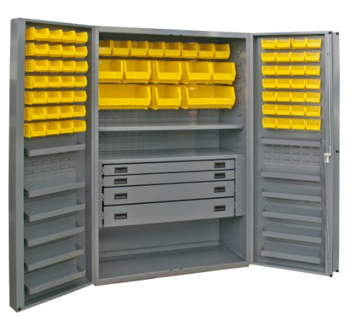"Durham Heavy Duty Welded 14 Gauge Steel Cabinet With 132 Bins, Dcbdlp724Rdr-95, 12 Door Shelves And 4 Drawers, 24"" Length X 36"" Width X 72"" Height, 1 Shelf, Gray Powder Coat Finish"