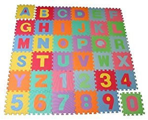 Alfombra juegos infantil set completo alfabeto y números desmontables e intercambiables - Goma EVA en BebeHogar.com