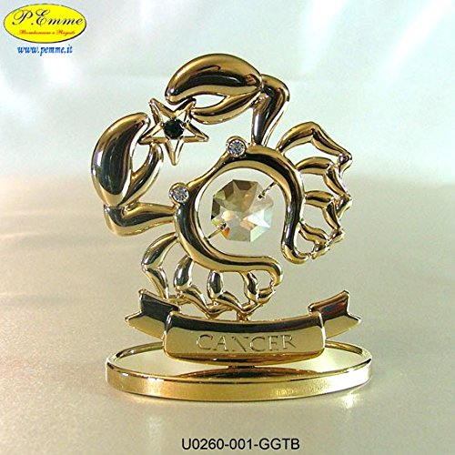 SEGNO ZODIACALE CANCRO GOLD CRYSTOCRAFT SWAROVSKI ELEMENTS - 24K GOLD PLATED