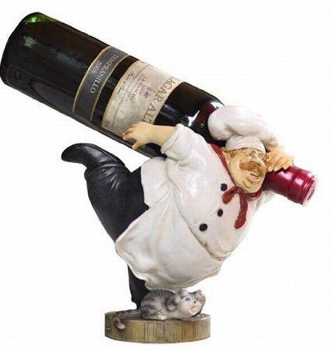 ワインボトル ホルダー ゆかいなコック長  樹脂製 高さ21cm