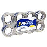 Duck Brand HP260 High Performance 3.1 Mil Packaging Tape, 1.88-Inch x 60-Yard Roll, Crystal Clear, 6-Pack + 2 Bonus Rolls (1067839)