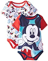 Disney Baby Baby-Boys Newborn Disney Mickey Mouse Adorable Soft 2 Pack Bodysuits