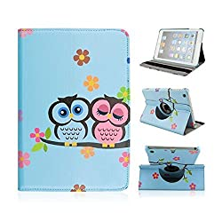 Noarks GeBox(TM) 360 Degree Rotating Stand Cute Aminals Owl Pattern Colored Painting Protective Skin Leather Wallet Flip Stand Cover Case for iPad Mini 2 / iPad Mini with Retina (Lovely Couple Owls with Flowers-Blue)