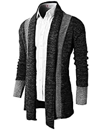 H2H Mens Casual Slim Fit Knit Cardigan with Double Shawl Collar BLACK US L/Asia XL (KMOCAL011_KMOCAL012)