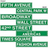Beistle 50094 4-Pack NYC Street Sign Cutouts, 4-Inch by 24-Inch