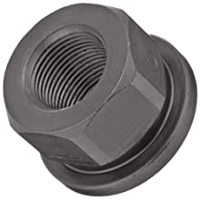 "Grade 2 12L14 Steel Flange Nut, Black Oxide Finish, UNC 2B Threads, 3/8""-24 Thread Size, 5.5mm Width Across Flats, Pack Of 5"