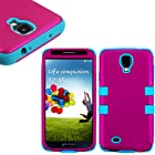 myLife (TM) Pink and Sky Blue - Smooth Color Design (3 Piece Hybrid) Hard and Soft Case for the Samsung Galaxy S4 Fits Models: I9500, I9505, SPH-L720, Galaxy S IV, SGH-I337, SCH-I545, SGH-M919, SCH-R970 and Galaxy S4 LTE-A Touch Phone (Fitted Front and Back Solid Cover Case + Internal Silicone Gel Rubberized Tough Armor Skin)