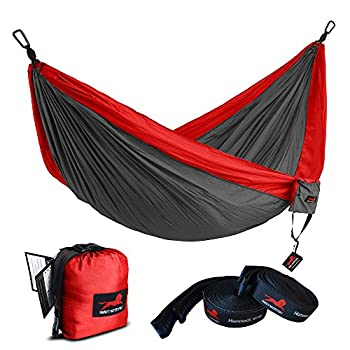Honest Outfitters Single & Double Camping Hammock With Hammock Tree Straps,Portable Parachute Nylon Hammock for Backpacking travel