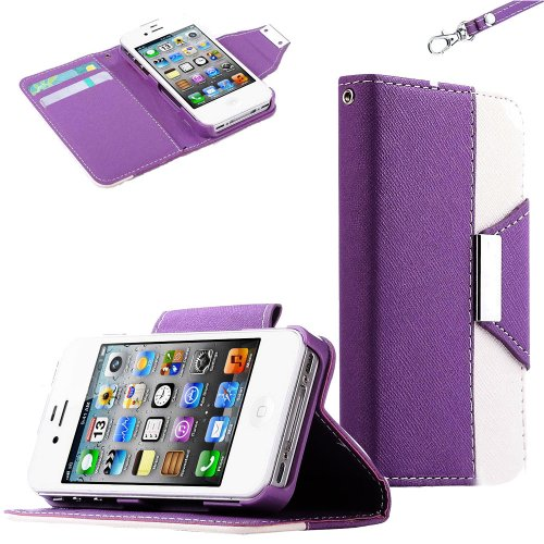 Mylife (Tm) Plum Purple And White Classy Design - Textured Koskin Faux Leather (Lanyard Strap + Card And Id Holder + Magnetic Detachable Closing) Slim Wallet For Iphone 4/4S (4G) 4Th Generation Touch Phone (External Rugged Synthetic Leather With Magnetic