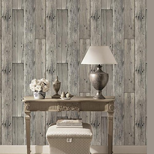 Haokhome 8e022 woods textured wallpaper roll gray wood for Wallpaper home hardware