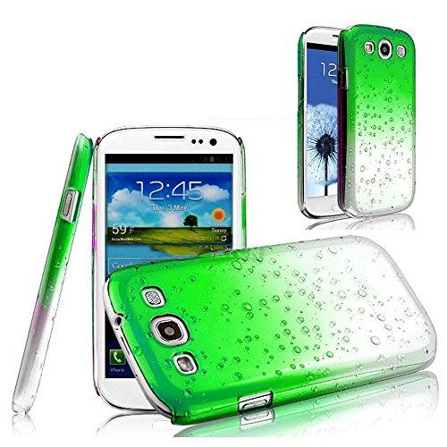 Vandot 1X Case For Samsung Galaxy S3 I9300 3D Rain Raindrop 0.5Mm Ultra Thin Clear Silicone Transparent Hard Rain Drops Case Cover Skin Case Hard Protection Case Protective Cover Green +2 Lcd Screen Protectors front-982369