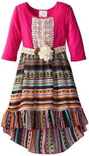 Elisabeth Little Girls' Hi Low Chiffon With Knit Foe Belt, Hot Pink, 4T