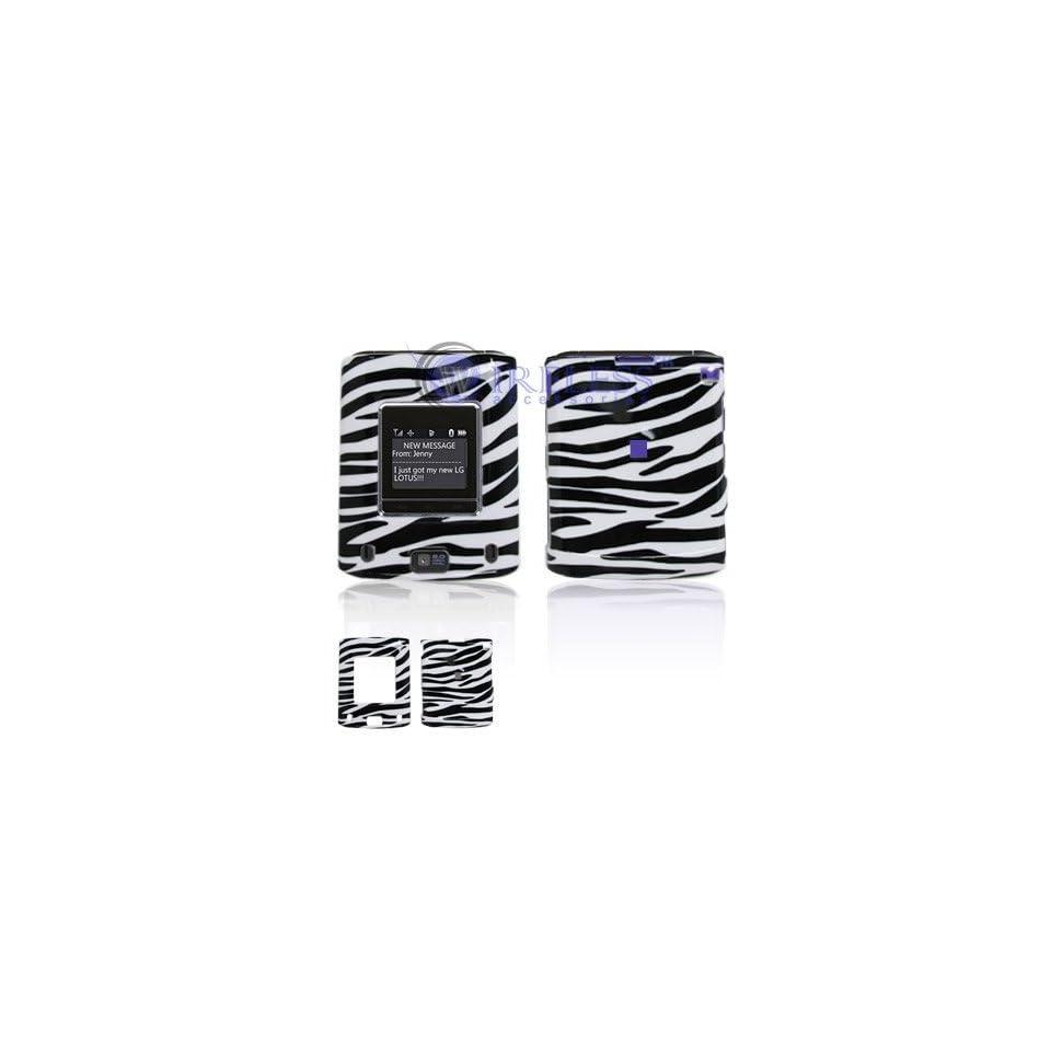 LG Lotus LX600 Cell Phone Black/White Zebra Design Protective Case Faceplate Cover