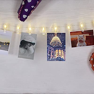 BOLWEO 30 Photo Peg Clips with 10Ft Copper Wire String Lights, Battery Powered LED Photo Clips String Lights,Perfect for Home Wall Christmas Decor - Hanging Photos Pictures Cards Artwork,Warm White