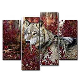 SmartWallArt - 4 Panel Wall Art Painting Wolf In The Forest Pictures Prints On Canvas Animal The Picture Decor Oil For Home Modern Decoration Print