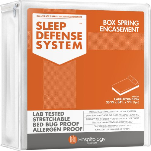 Great Features Of Hospitology Sleep Defense System Bed Bug Proof Box Spring Encasement, California K...