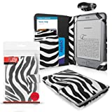 ORZLY® Case for Amazon KINDLE - ZEBRA Style Folio Case with Clip-On LED Reading Lamp - Limited Edition TEXTURED Cover Pouch from Orzly for 6 inch Amazon Kindle 4 e-Reader (aka / Gen4 / Generation 4 2011 Release Model / Amazon Kindle Wi-Fi, 6