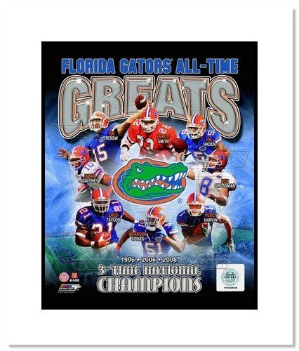 All About Autographs AAA-11604m Florida Gators All Time Greats NCAA Double Matted 8x10 Photograph National Champs Collage