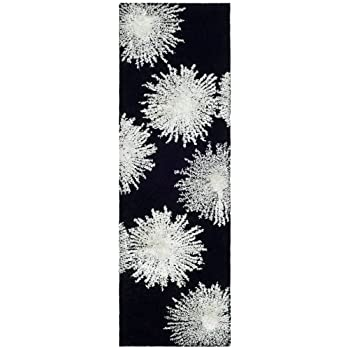 Safavieh Soho Collection SOH712D Handmade Fireworks Black and White Premium Wool Area Rug (2 x 3)