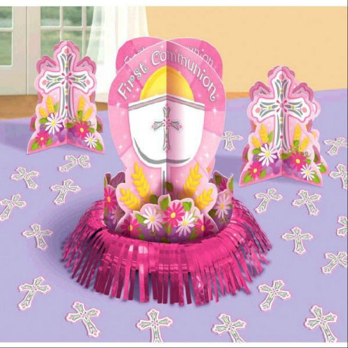 First Communion Pink Table Decorating Kit with 1 Large Centerpiece, 2 Small Centerpieces and 20 Cross Confetti Pieces