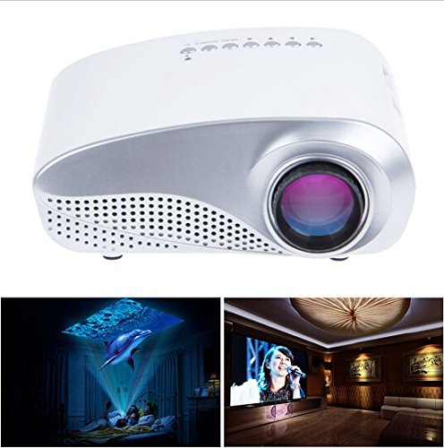 Aketek Newest K10 Lcd Home Theater Cinema Projector Led Multimedia Portable Video Pico Micro Small Mini Projector Full Hd With Hdmi Usb Sd Av Vga Tv Interface For Pc & Laptop(White)