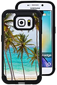 CorpCase Samsung Galaxy S6 Edge Case, S6 Galaxy Edge, Galaxy S6 Edge Case - Tropical palm tree on beach / Hybrid Unique Case With Great Protection