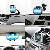 iKross 4-in-1 Universal Windshield / Dashboard / Sun Visor / Air Vent Car Mount Holder Kit - Black For iPhone 5S 5C 5 4S, LG G3, G2, Motorola Moto E, Moto X, Moto G Droid Mini, Droid Maxx, Samsung Galaxy S5 S V, Galaxy Note 3 III N9000 N9005, Galaxy S4 I9500 and more