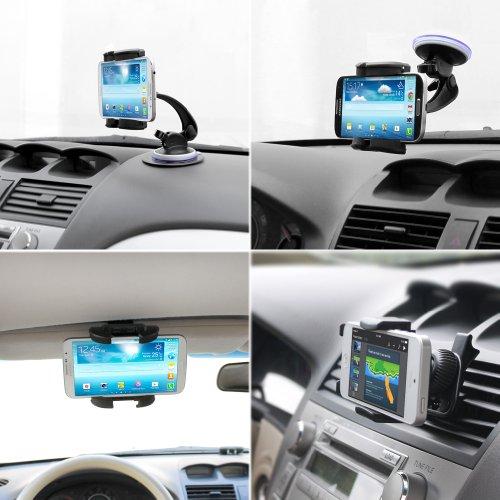 iKross 4-in-1 Universal Windshield / Dashboard / Sun Visor / Air Vent Car Mount Cradle Holder Kit - Black