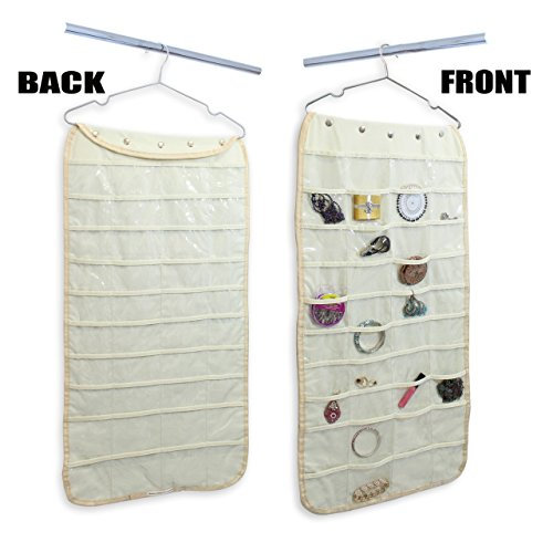 Hanging Jewelry Organizer 80 Pockets Natural Canvas,Beige for Household Accessories, Premium,Durable (Closet Full Of Coke compare prices)