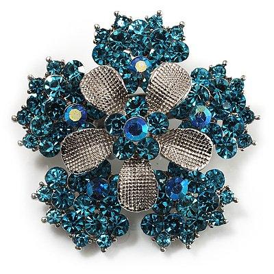 Light Blue Crystal Flower Brooch (Silver Tone)