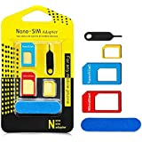 Aerb 5in1 Nano Micro Standard Sim Card Adapter Converter Complete Kit W Sander Bar and Tray Open Needle [Newly Upgraded]