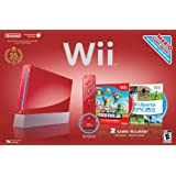 Red Wii Console with Wii Sports and Super Mario Brosby Nintendo