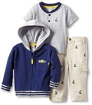 Little Me Baby-Boys Infant Sailor 3 Piece Jacket Set, Khaki, 12 Months