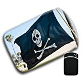 Pirate Flag Raised High on Beach Shore on Sunny Day For Amazon Kindle Fire & Kindle 3G Keyboard Soft Protection Neoprene Case Cover Sleeve Bag With Pocket which is Ideal for Headphones, Data Cable etc