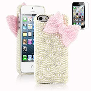 Pandamimi Dexule Fashion Sweety Girls Hand Made 3D Baby Yellow Full Pearl and Pink Butterfly Hard Case Cover for iPhone 5 5G with Screen Protector