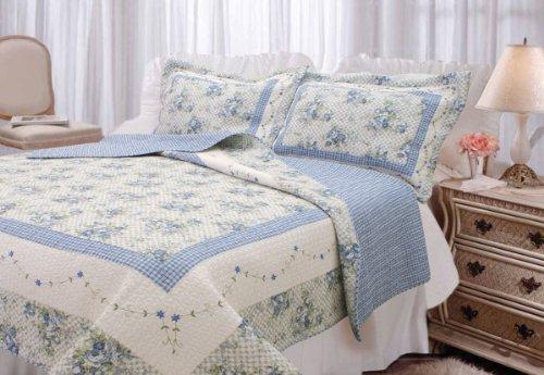 textiles-plus-inc-100-percent-cotton-full-queen-mini-quilt-set-trellis-blue