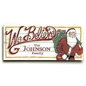 Christmas santa we believe personalized 10 for Christmas wall art amazon