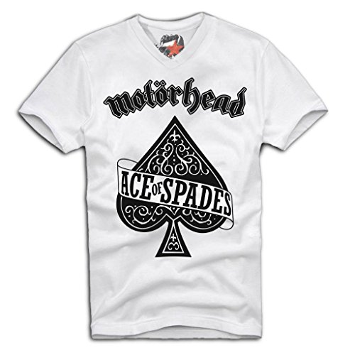 E1SYNDICATE V-NECK T-SHIRT Motörhead ACE OF SPADES ACDC LEMMY METALLICA Sz. S-XL