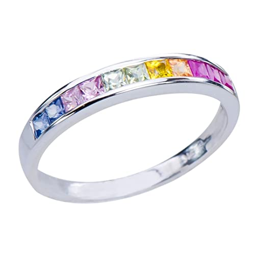 GemsLovers 9K White Gold Genuine Multi Sapphire Womens Ring - September Birthstone