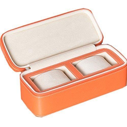 Nuovo regalo arancione 2-Slot in pelle orologio scatola borsa da viaggio