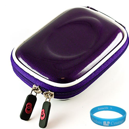 Purple Candy Slim Edition Compact Digital Camera Carrying Case with Dual Zippered Opening and Removable Carbineer for Nikon Coolpix S3100 Digital Camera + SumacLife TM Wisdom Courage Wristband