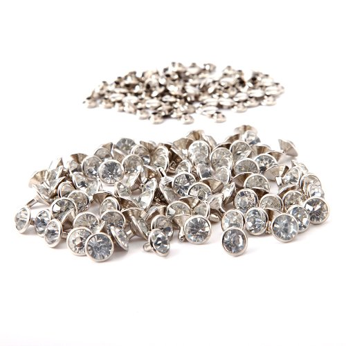 Surepromise 100pcs 10 x 10 MM Diamante Diamond Crystal RIVET STUDS Leathercraft Silver (Crystal Clothing compare prices)