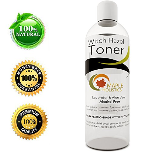 Pure Witch Hazel Toner - Alcohol Free with Aloe Vera & Lavender Essential Oil - 16 Oz - Natural Moisturizer for Women and Men for Face, Hair and Skin - Therapeutic Grade - USA Made By Maple Holistics