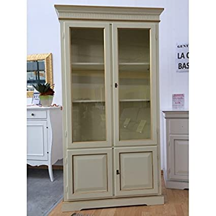 Display Cabinet Bookcase 2 Doors Wood Ivory Border Gold – As Photos White and Ivory