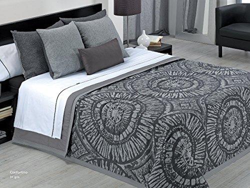 Textilhome - Colcha Bouti BANTRA color Gris cama de 105cm