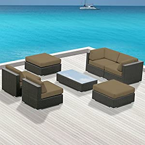 Outdoor Patio Furniture All Weather Wicker MALLINA II Modern Sofa Sectional 7pc Couch Set TAUPE
