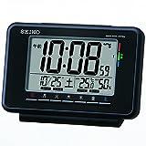 SEIKO CLOCK (セイコークロック) デジタル ウィークリーアラーム 快適度表示 温度表示 湿度表示電波時計  (黒) SQ775K SQ775K