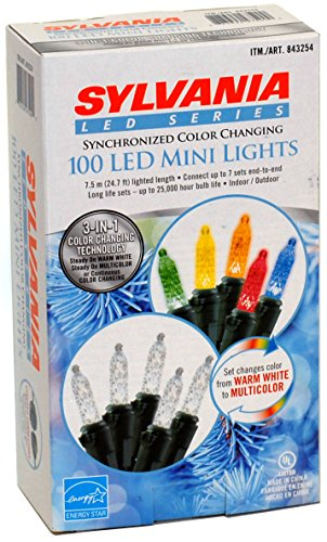 Sylvania 100-Count Led Mini Lights 3 In 1 Synchronized Color Changing (843254)