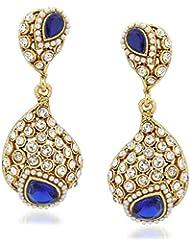 VK Jewels Navy Blue Stone Gold Plated Alloy Drop Earring Set For Women & Girls -ERZ1300G [VKERZ1300G]