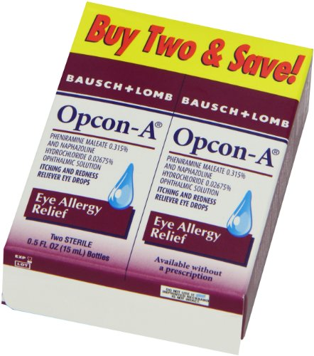 Opcon-A Eye Drops for Eye Allergy Relief, 2-Count Packages of 0.5-Ounce Bottles